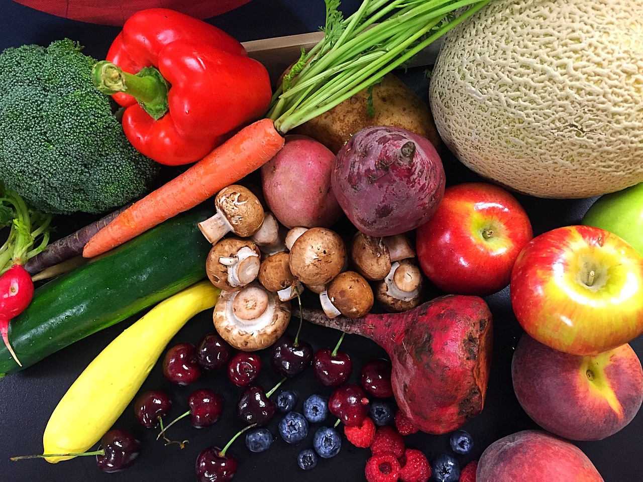 multi-colored fruit and vegetables